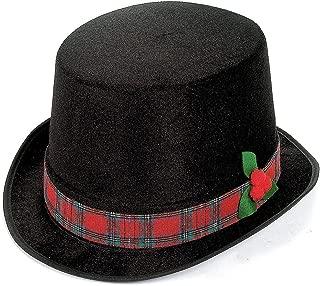 Fun Express 4/4637 Holiday Caroler Black Top Hat with Plaid Trim