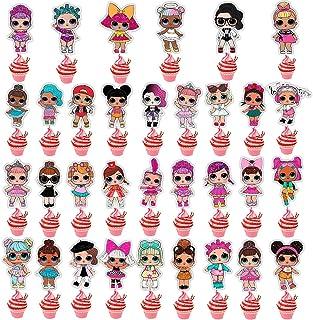 NAXIEE LOL Lot de 32 décorations de gâteaux double face pour anniversaire d'enfant