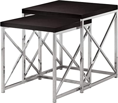 1556550ef30b 2 Piece Set Nesting Table Metal Chrome Base Glass Top