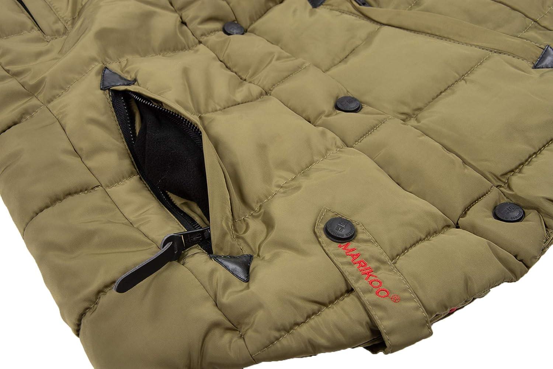 Marikoo warme Damen Winter Jacke Winterjacke Steppjacke gefüttert Kunstfell B618 Grün