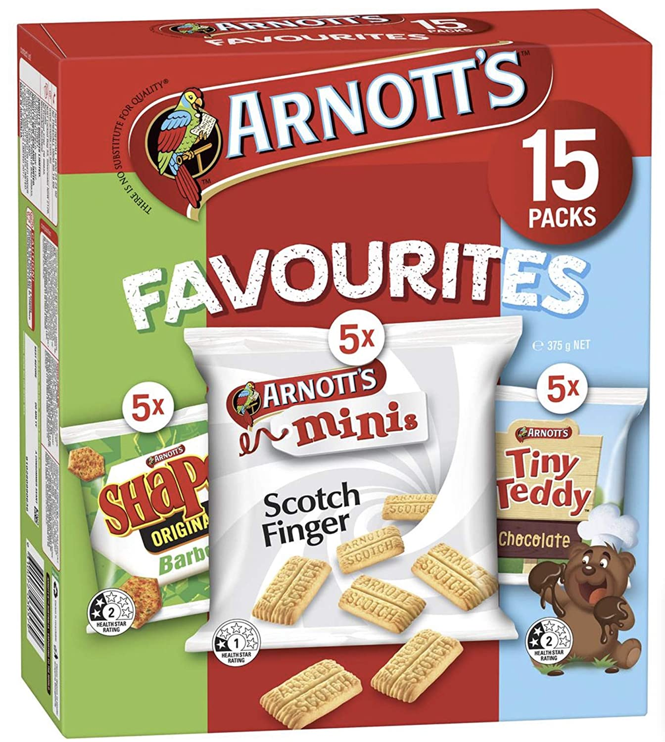 AUSTRALIAN MADE ARNOTT'S FAVOURITES MINIS BISCUITS BBQ SHAPES - SCOTCH FINGER - CHOCOLATE TINY TEDDY 15 PACKS 375g