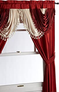 Regal Home Collections Amore 54 84-Inch Luxurious 5PC Attached Valance, Brick Window Curtain Set