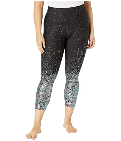 Beyond Yoga Plus Size Alloy Ombre High-Waisted Midi Leggings (Black Iridescent Speckle) Women