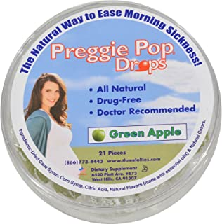 Three Lollies Preggie Pop Drops, Natural Green Apple, 21 Count