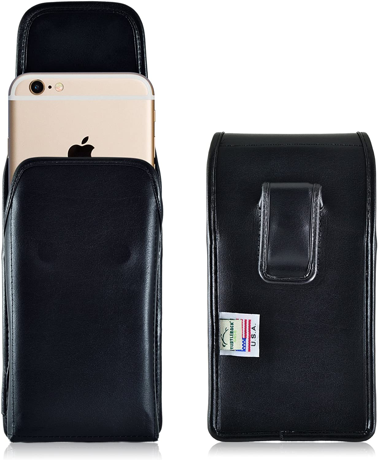 Turtleback Holster Compatible with Apple iPhone 6S, iPhone 6 Black Vertical Belt Case Leather Pouch with Executive Belt Clip Made in USA