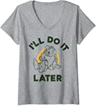 Womens Disney Snow White Sleepy I'll Do It Later Humor V-Neck T-Shirt