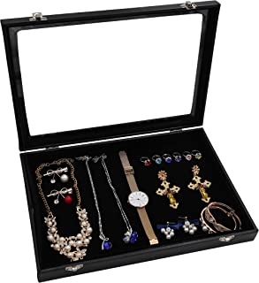 Wuligirl Multifunctional Velvet Jewelry Showcase Display Case Storage Necklace Bracelet Ring Earring Organizer Box for Women Stackable with Glass Top Lid and Lock(Black Multi Jewelry Box)