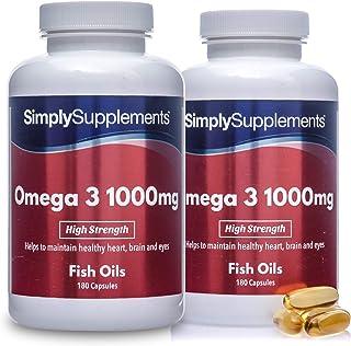 Omega 3 1000mg - ¡Bote para 4 meses! - 360 cápsulas - Con un alto contenido de DHA y EPA - SimplySupplements