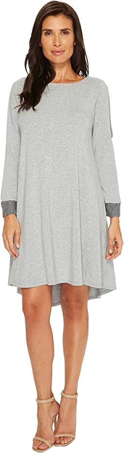 Cotton Modal Spandex Jersey Split Sleeve Swing Dress with Lace Trim