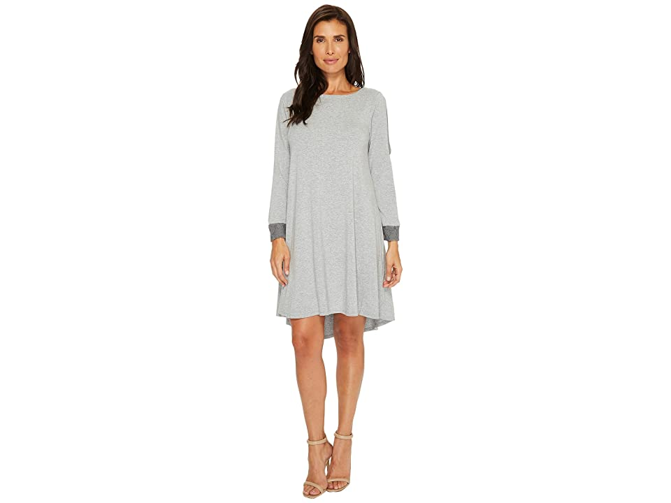 Mod-o-doc Cotton Modal Spandex Jersey Split Sleeve Swing Dress with Lace Trim (Smoke Heather) Women