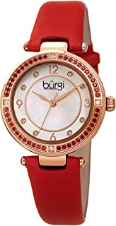 Burgi Ombra Colored Crystals Women's Watch - 8 Diamond Markers On Mother-of-Pearl Dial - Satin Over Genuine Leather Strap - BUR251