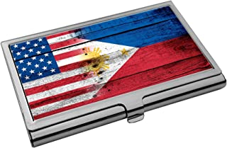 Premium Stainless Steel Business Card Holder - Flag of Philippines (Filipino, Pinoy) - Wood/USA