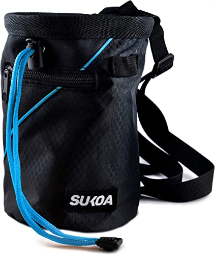 Sukoa Chalk Bag for Rock Climbing - Bouldering Chalk Bag Bucket with Quick-Clip Belt and 2 Large Zippered Pockets - R...