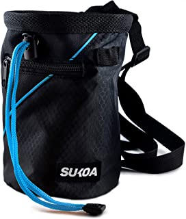 Sukoa Chalk Bag for Rock Climbing - Bouldering Chalk Bag Bucket with Quick-Clip Belt and 2 Large Zippered Pockets - Rock C...