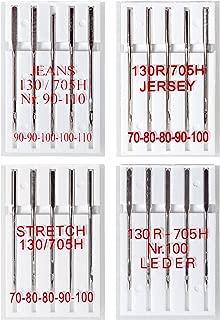 20 Agujas para máquinas de coser: jeans, jersey, stretch y cuero; 5 piezas/variantes cada uno en varios tamaños; sistema: pistones planos