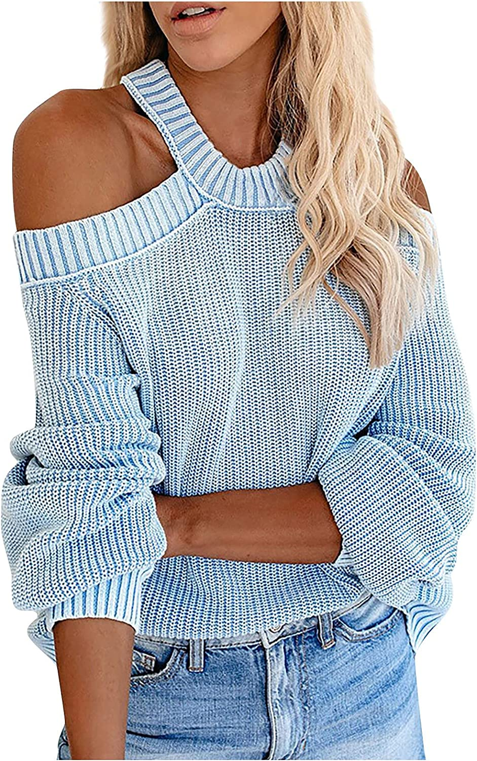 Womens Cold Shoulder Lantern Sleeve Sweaters Cable Knit Cut Out Tops Halter Neck Sexy Pullover Jumper