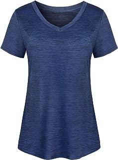 Zugeet Women's Short Sleeve V Neck Active Wear Tops Wicking Athletic Yoga Shirt
