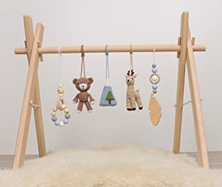 Deer and Bear Forest Artisan Wood baby gym frame and activity gym with five mobiles by LanaCrocheting. Woodland. Montessori. Wooden Foldable Baby Play Gym, Hanging bar, Activity center, natural