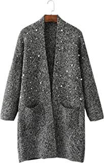 Women's Pearls Embellished Long Open Front Knitted Cardigan Sweater Coat