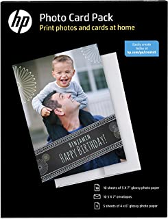 HP Photo Card Kit with 10 sheets of 5x7-Inch Glossy Photo Paper and Envelopes and 5 Sheets of 4x6-Inch Glossy Photo Paper  DISCONTINUED BY MANUFACTURER