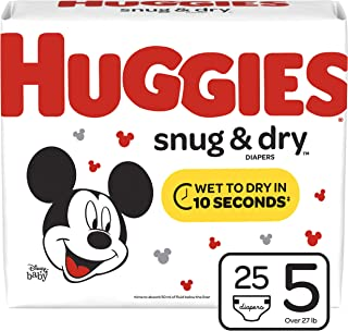 Huggies Snug & Dry Baby Diapers, Size 5 (fits 27+ lb.), 25 Count, Jumbo Pack (Packaging May Vary)