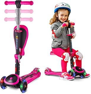 S SKIDEE Scooter for Kids with Folding/Removable Seat – Adjustable Height, 3 LED Light Wheels, 3 Wheels Kick Scooter for Girls & Boys