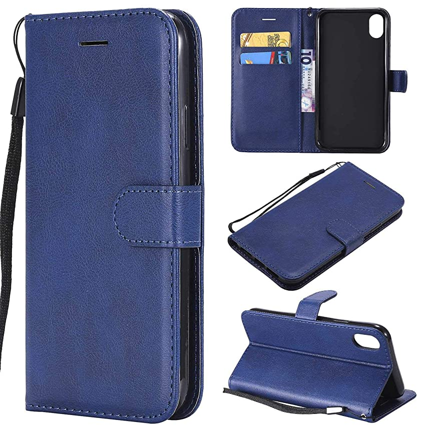iPhone XR Wallet Case, CUSKING Premium Leather Cover with Silicone Inner Case for Apple iPhone XR [Card Holder] [Magnetic Closure] [Hand Strap] - Blue