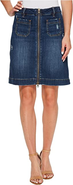 Jag Jeans - McCamey Zip Front Crosshatch Denim Skirt in Thorne Blue