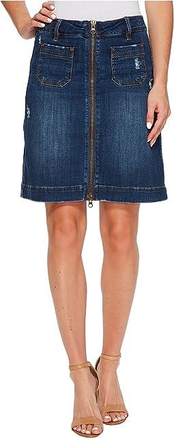 McCamey Zip Front Crosshatch Denim Skirt in Thorne Blue