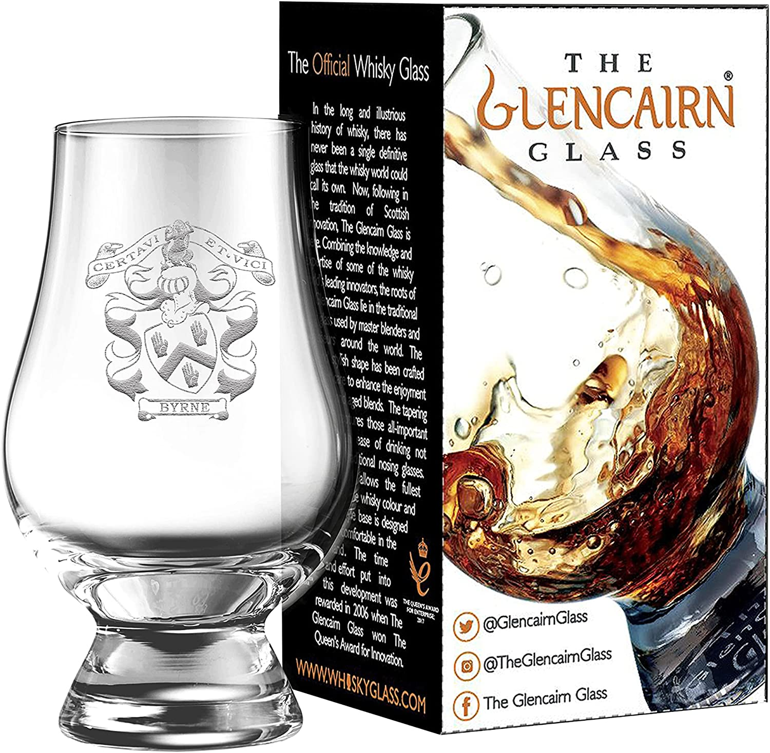 Clan Crest Byrne Challenge the lowest price of Japan Max 48% OFF ☆ Engraved Glencairn Glass Gift Whisky Carton in