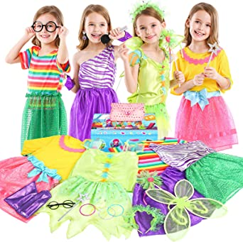 Teuevayl Little Girl Dress up Trunk Set, 20PCS Girls Pretend Play Princess Role Play Costumes Set, Singer, Princess, Fairy Costume for Girl Ages 3-6
