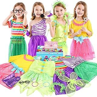 Teuevayl Little Girl Dress up Trunk Set, 20PCS Girls Pretend Play Princess Role Play Costumes Set, Singer, Princess, Fairy...