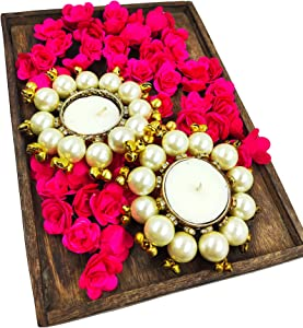 Bombay Haat Premium Pearl Tealight Candle Holders for Home Décor, Living Room Décor , Candle Holders for Table Centerpiece, Farmhouse Pool Wedding Parties , Balcony & Spa Decor and Gifting (2)