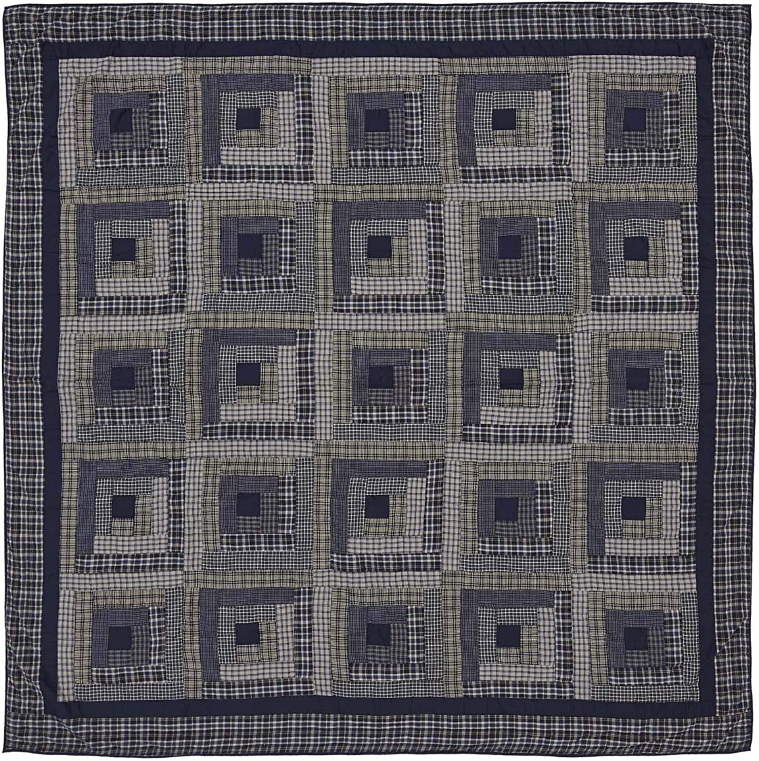 VHC Brands Rustic & Lodge Bedding Carson bluee Plaid Cotton Pre-Washed Patchwork Queen Quilt, Navy