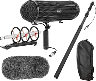 Movo Location Sound Production Bundle for Shotgun Microphones - Includes 8.2' Telescoping Carbon Fiber Boom Pole with Integrated XLR Cable and Blimp Windshield/Vibration Protection System