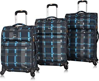 Best Designer Luggage Collection - 3 Piece Softside Expandable Ultra Lightweight Spinner Suitcase Set - Travel Set includes 20 Inch Carry On, 24 Inch & 28 Inch Checked Suitcases (Old School Navy) Review