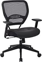 SPACE Seating Professional AirGrid Dark Back and Padded Black Eco Leather Seat, 2-to-1..