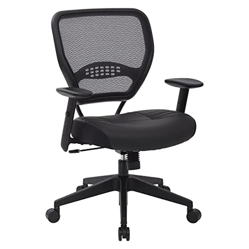 Space Seating Professional Airgrid Dark Back And Padded Black Eco Leather Seat 2 To
