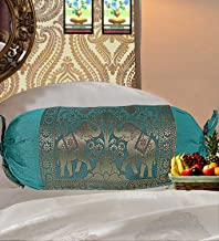 Real Online Seller Indian Polydupion Cylindrical Tube Pillow Bolster Pillow Covers Green Jacquard Brocade Border Elephant Large Couch Round Cylinder Cushion Covers (Set of 2)