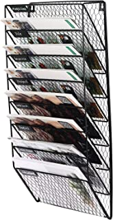 PAG 8 Pockets Hanging Wall File Organizer Mail Letter Holder Metal Chicken Wire Maganize Rack, Black