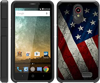 TurtleArmor   Compatible with ZTE Avid Plus Case   ZTE Avid Trio   ZTE ZFive 2   Slim Fitted Dual Layer Hard Armor Hybrid Shell Case - American Flag