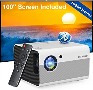 Native 1080P Projector Bluetooth with Digital Zoom&HiFi Stereo, BIGASUO Outdoor Movie Projector, 7500L Home Portable Proje...
