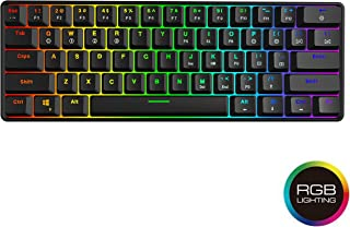 GK61 Hot Swappable Mechanical Gaming Keyboard - 61 Keys Multi Color RGB Illuminated LED Backlit Wired Gaming Keyboard, Waterproof Programmable, for PC/Mac Gamer, Typist (Gateron Optical Red, Black)