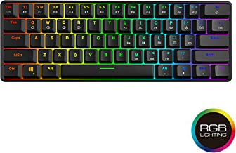 GK61 Hot Swappable Mechanical Keyboard - 61 Keys Multi Color RGB Illuminated LED Backlit Wired Gaming Keyboard, Waterproof Programmable, for PC/Mac Gamer, Typist, Tactile (Gateron Optical Brown)