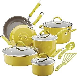 Rachael Ray 16806 Cucina Nonstick Cookware Pots and Pans Set, 12 Piece, Lemongrass Green