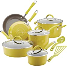 Rachael Ray 16806 Cucina Nonstick Cookware Pots and Pans Set, 12 Piece, Lemongrass Green