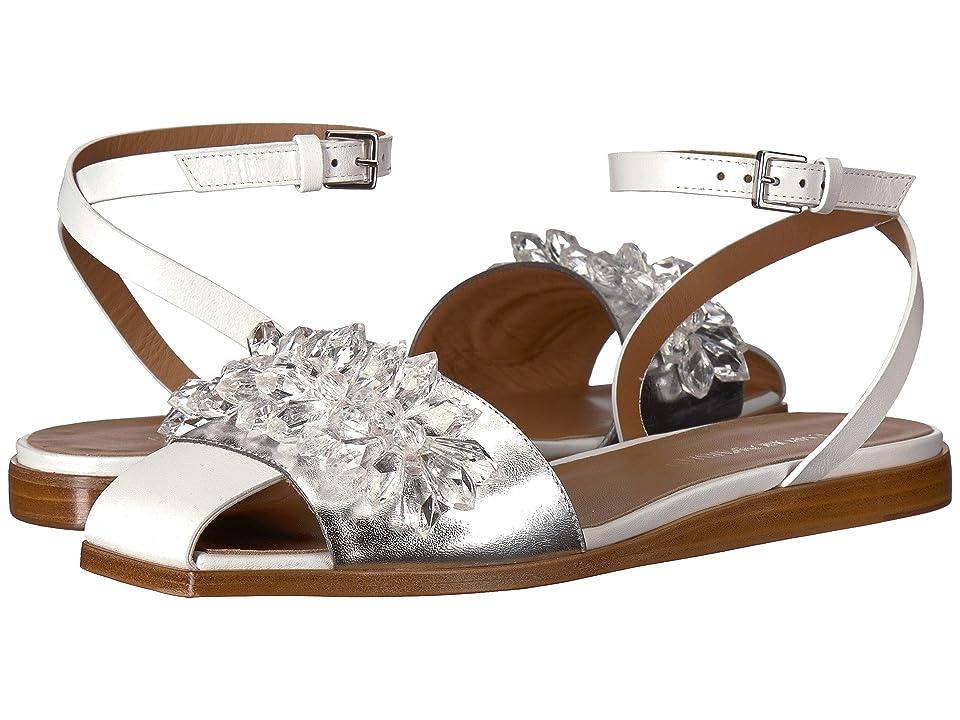 Emporio Armani Fringe Sandal (White/Crystals) Women
