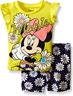 Disney Baby Girls' Minnie Mouse Woven Short Set with Fashion Top