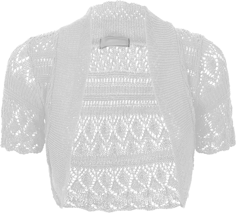 Thever Women Ladies Knitted Short Sleeve Crochet Shrug Bolero Cardigan SZ 8-26