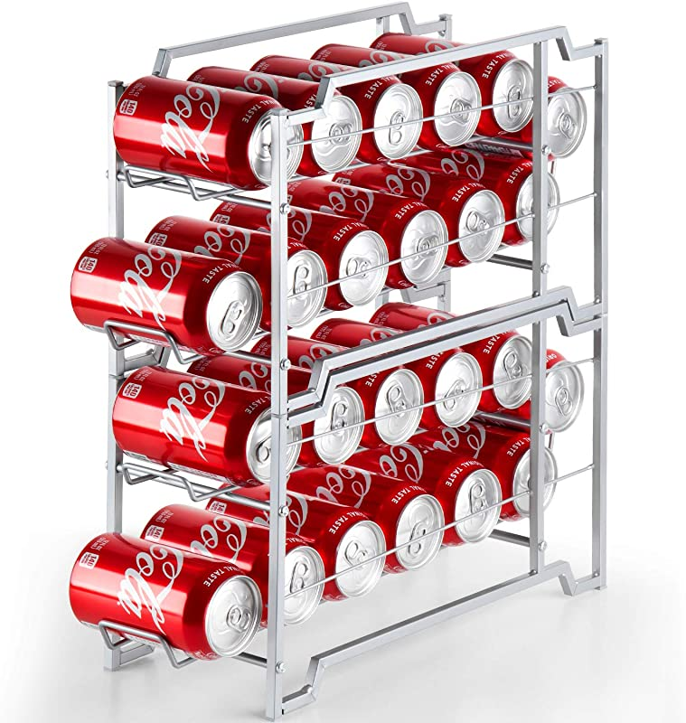 Bextsware Beverage Can Dispenser 2 Pack Stackable Soda Can Rack Organizer For Refrigerator Pantry Organization And Storage Holds 24 Standard Size 12Oz Soda Cans Or Canned Food Silver